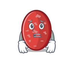 Afraid salami mascot cartoon style