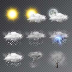 Weather icons set, modern forecast widget. Realistic vector illustration isolated on transparent background.