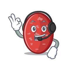 With headphone salami mascot cartoon style
