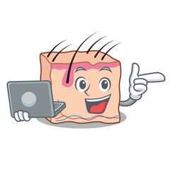 With laptop skin character cartoon style