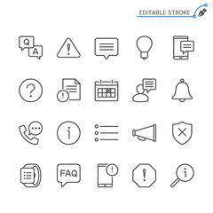 Information and notification line icons. Editable stroke. Pixel perfect.