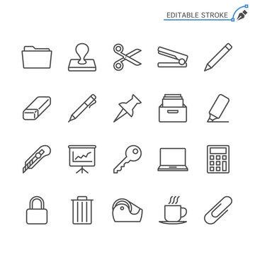 Office supplies line icons. Editable stroke. Pixel perfect.