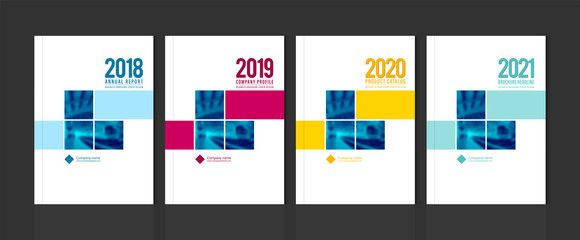 Obraz Cover design template corporate business annual report brochure poster company profile catalog magazine flyer booklet leaflet. Cover page design element A4 sample image with Gradient Mesh. - fototapety do salonu