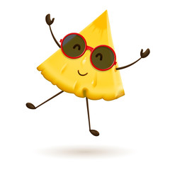 Cute pineapple character jumping. Vector illustration of cartoon slice of tropical fruit.