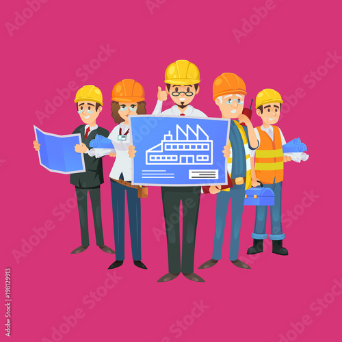 Professional construction worker team in uniform and safety helmets professional construction worker team in uniform and safety helmets engineer architect with blueprint malvernweather Gallery