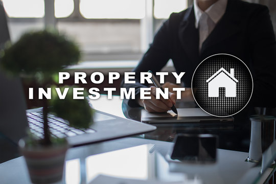 Property investment business and technology concept. Virtual screen background.