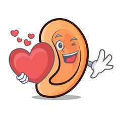 With heart Ear mascot cartoon style