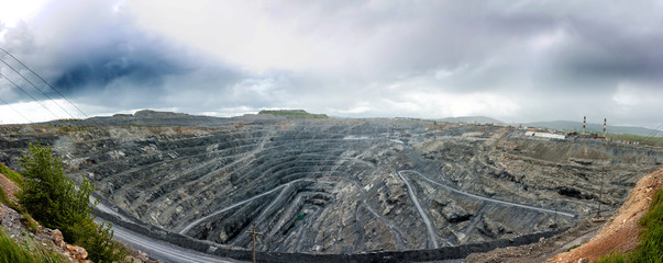 Panorama of a large magnesite quarry