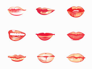 Woman's lip set. Girl mouths close up with red lipstick makeup.