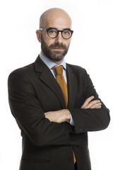 Uomo elegante con occhiale