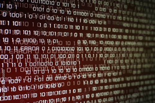 red binary code on computer screen with glittering light and