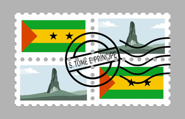 Sao tome and principe flag and pico cao grande on postages