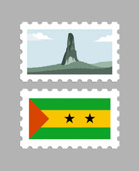 Sao tome and principe flag and pico cao grande on postages