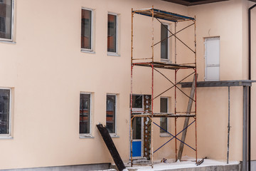 Scaffold surrounding old building during renovation works