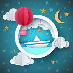 Air balloon, ship illustration. Cartoon sea landscape. Vector eps 10