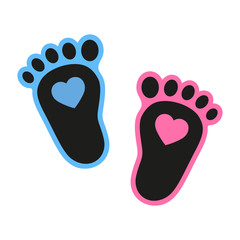 Baby's footprints icon with heart. Abstract concept. Flat design. illustration on white background.