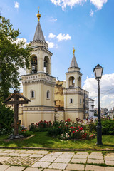 Ivanovsky Convent - the main shrine of St. John the Baptist in Moscow. Historical downtown. View from the garden of Church of St. Vladimir in the Old Gardens.