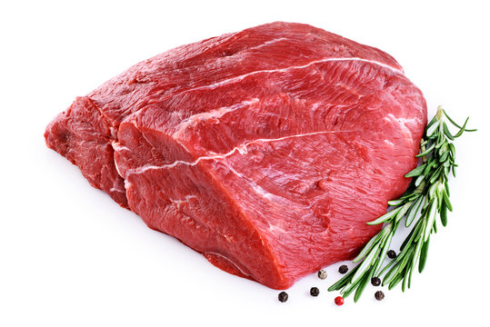Raw beef meat, pepper and rosemary isolated on white background.