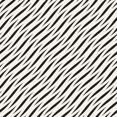 Vector Seamless Black and White Wavy Lines Pattern. Abstract Geometric Background