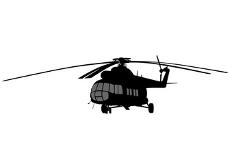 Large passenger helicopter on a white background