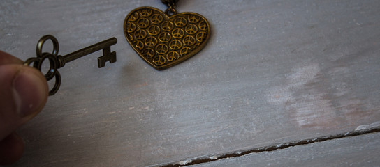 ancient key and bronze heart