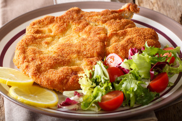 Delicious veal cutlet Milanese with lemon and fresh vegetable salad close-up. horizontal