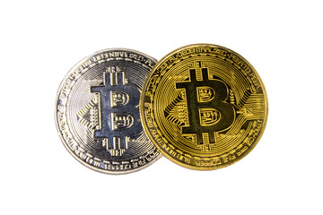 Golden and silver bitcoins isolated on white background