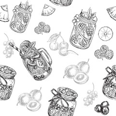 hand drawn sketch jars and fruits seamless pattern