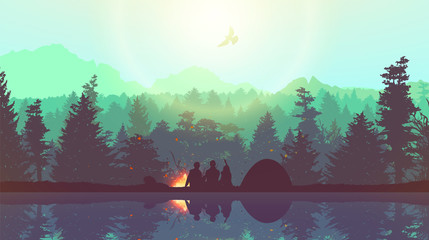 People camping, adventure and travel concept, beautiful forest, mountain and sky, double exposure, vector illustration. Wall mural