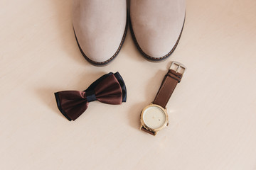 Clock, Bowtie & Shoes, Grooming, Wedding Preparation