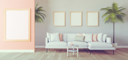 Mock up interior with sofa and palms 3d render