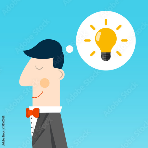 Vector Flat Design Smart Man With Bulb In Speech Bubble Inspiration Concept