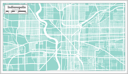 Indianapolis USA City Map in Retro Style. Outline Map.