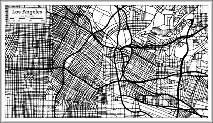 Los Angeles California USA City Map in Retro Style Black and White Color. Outline Map.