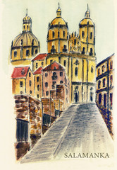 Spain. An ancient street in the ancient city of Salamanca. Watercolor drawing. City sketch.