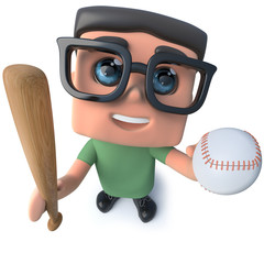 3d Funny cartoon nerd geek hacker character holding a baseball bat and ball