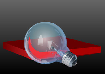 Glass light bulb and red Board conceptual illustration vector