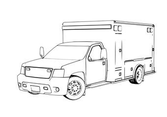 outline ambulance car vector