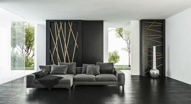 Modern bright airy elegant living room interior