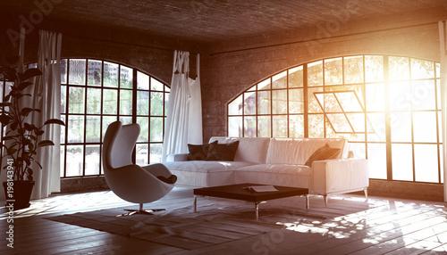Einfaches Stylisches Wohnzimmer In Beton Loft Stockfotos Und