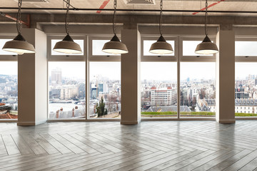 Large commercial space overlooking a city