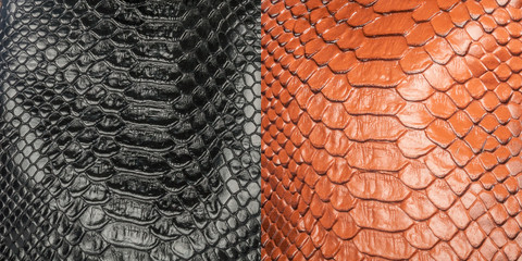 Two kinds of shiny scaly textured artificial snake skin in the form of a collage