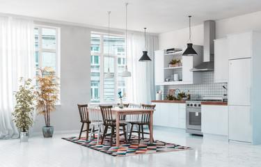 Helle weiße Küche in Altbauwohnung