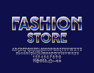 Vector Elegant Blue and Golden Label Fashion Store. Luxury Font. Glossy Alphabet Letters, Numbers and Symbols