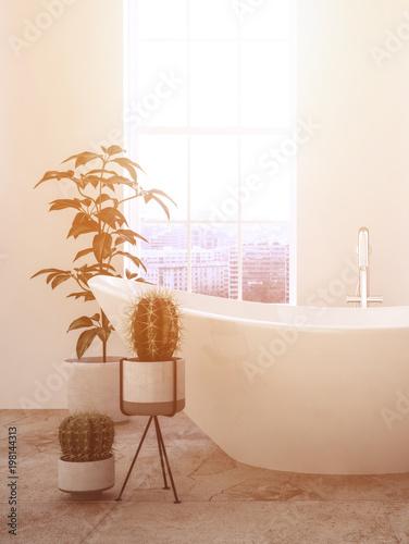 Freistehende Badewanne Vor Großem Fenster. Warmes Licht