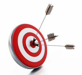 Arrows hit right on target bullseye. 3D illustration