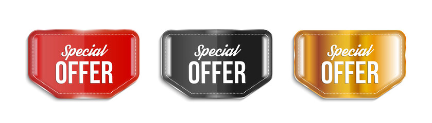 Special offer banners on transparent background. Vector illustration.
