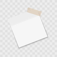 Post note paper sticker pin with sticky tape on transparent background. Vector