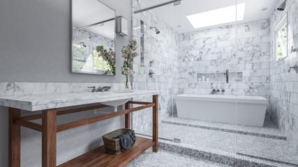 Modernes Badezimmer mit weißen Fliesen und Badewanne