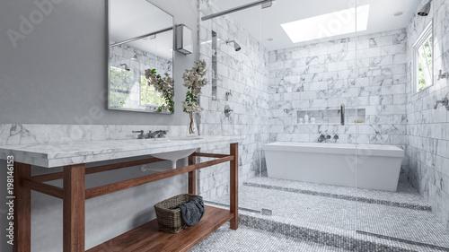 Modernes Badezimmer mit weißen Fliesen und Badewanne\